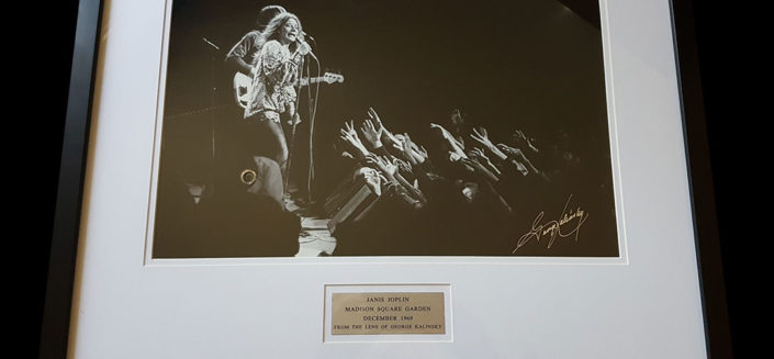 In 1969, rock legend Janis Joplin played New York's Madison Square Garden with her Kozmic Blues Band. She was joined on stage that night by Johnny Winter, Tina Turner and the Paul Butterfield Blues Band. Rock photographer George Kalinsky was there that night and shot this amazing image of Janis, which he's signed and framed. Rock royalty captured forever.