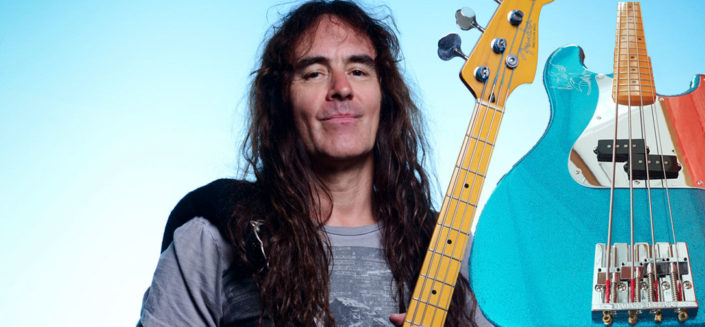 One-off replica specially made of the bass guitar used on stage by Steve Harris