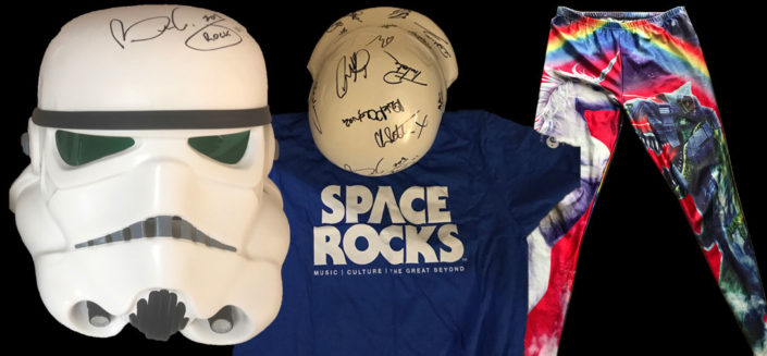 This amazing Stormtrooper helmet was signed by astonaut Tim Peake, Queen guitarist Brian May and many more at Space Rocks London! With bonus signed Unicorn leggings as worn by Matt and Brian.